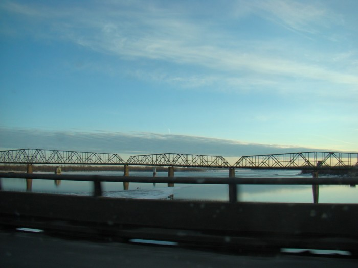 15. The Old Chain of Rocks Bridge goes from Edwardsville into St. Louis and crosses over the Mississippi.