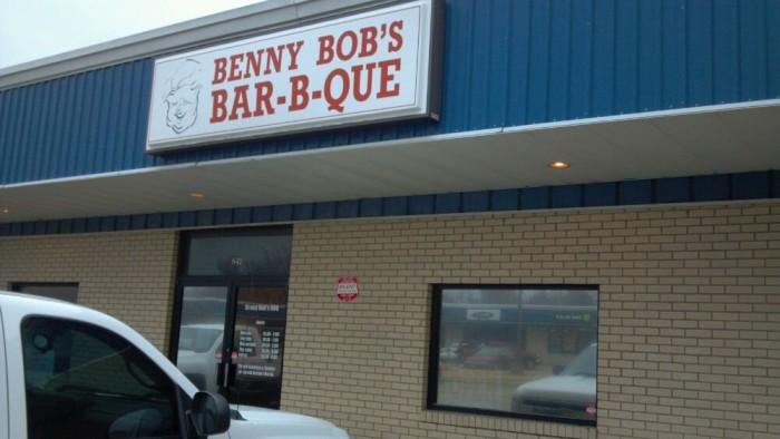 28. Benny Bob's BBQ: Benny Bob's serves barbecue chicken, ribs, pork, baked beans, cole slaw, hushpuppies, catfish, wings, and homemade and fried pies for dessert.
