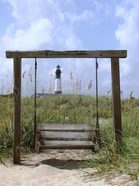 5) Taking a swing on Tybee Island.