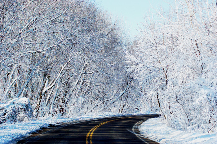 3 The snowy road is stunning.