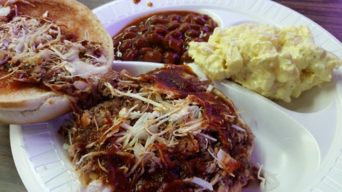 """25. HB's Barbecue: This quaint legendary barbecue """"dive"""" is located in a residential area and seats only 32; great slabs of meat with fiery barbecue sauce are served here but ribs are served on Tuesday only. Try the pork sandwich on an onion roll!"""