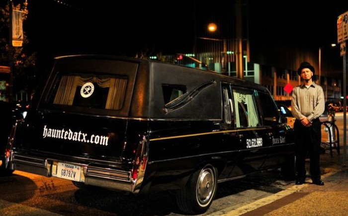 11) Tour haunted sites in Austin while cruising around in a Classic 1992 Cadillac Hearse!