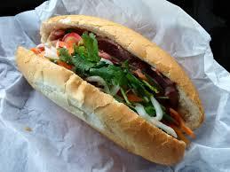 Bahn Mi Thit- A cold cut combo of butter, pâté, ham, headcheese & steamed pork at Huy's Sandwich.