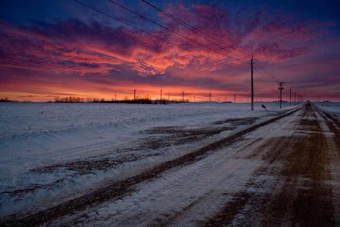 4 This snowy sunset over the Buffalo Ridge Wind Farm.