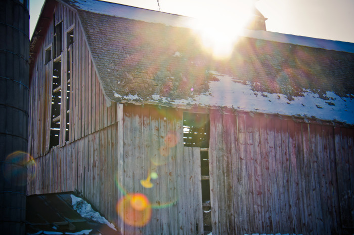 9 A barn in Vermillion sparkles in the sunlight.