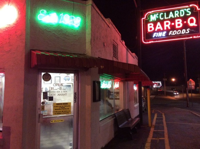 1. McClard's Bar-B-Q: This award-winning and nationally known Hot Springs restaurant is a longtime family-owned joint serving up hearty ribs, fries & beer in a basic diner-style setting.