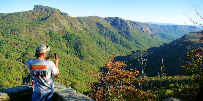 2. Snag a different view of Linville Gorge from this roadside overlook