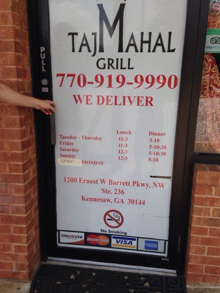 10) Taj Mahal Grill - 1200 Ernest W Barrett Pkwy NW #236, Kennesaw, GA 30144