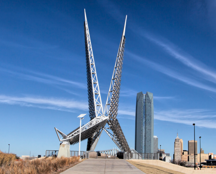 9. Oklahoma City SkyDance Bridge was architecturally inspired by the state's bird, the scissor-tailed flycatcher. The pedestrian bridge is 380 feet long and the sculpture stands 197 feet tall.  Try and catch it at night to see the stunning LED lights that change colors.