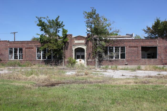 7.)  No more bells ringing at this abandoned school off Hwy 75 in Pharoah, OK.