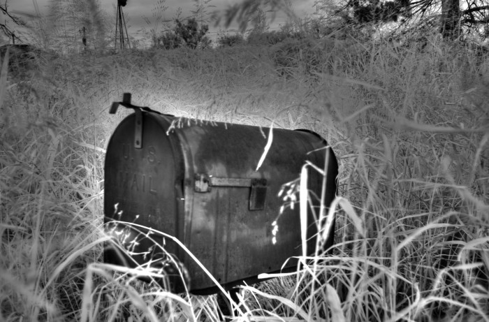 6.) Don't plan on getting any mail at the old Kingfisher mailbox hiding in a wheat field.