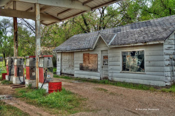 9.)  Found in Pawnee, OK, this building was once a operating gas station for the city.