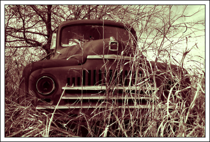5.) This abandoned L-170 series truck might make a good retro backdrop for some family photos if you are in Norman, OK.