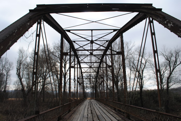 2.)  The wood is rotting away at this abandoned bridge in Heavner, OK.