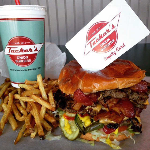 12.) Tuckers Onion Burgers-OKC.  Pile on the grilled onions and bacon cause this bad boy is sure to please.  Sit out on the patio and bring your dogs to eat...you can even order them an onion free burger.