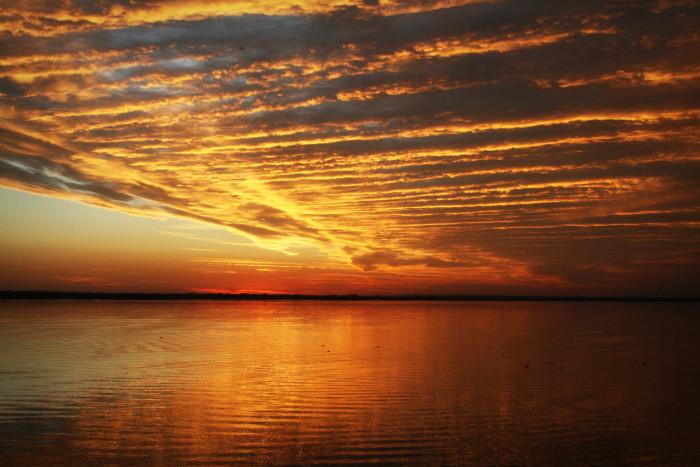 10. Lake Hefner-Oklahoma City, OK: This lake looks amazing as the sun is fading away.