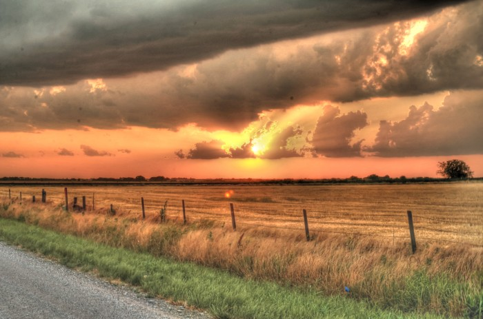 6. Union City, OK: Picturesque setting of an Oklahoma wheat field and the storm clouds.