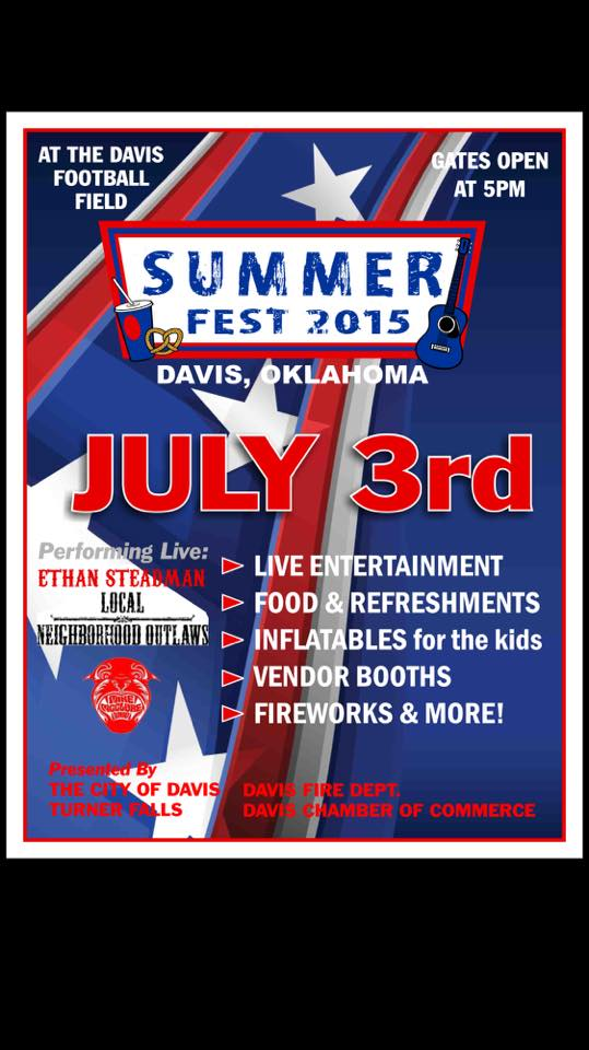 10. Summer Fest Fireworks in Davis- Grab your lawn chairs on July 3rd and head out to Wolf Field for a great Independence Day activity.