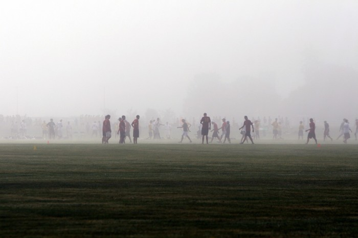 9. This isn't too eerie, but it's definitely a really great shot of the fog hiding a mass of people