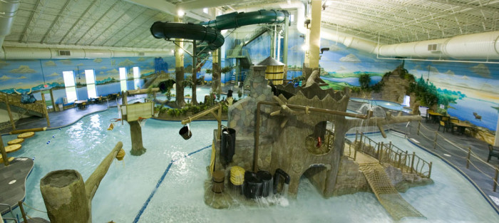 11 Paul Bunyan Water Park at the Arrowwood Brainerd Lodge has all the entertainment you need for the little lumberjacks like a treehouse center and log walk!
