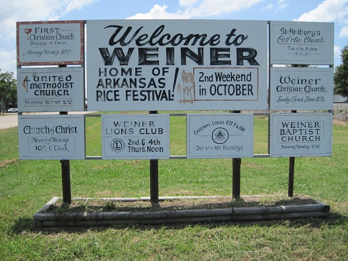 1. Weiner: This Pointsett County, Arkansas town is proud of its unusual name and uses the town name to every advantage!