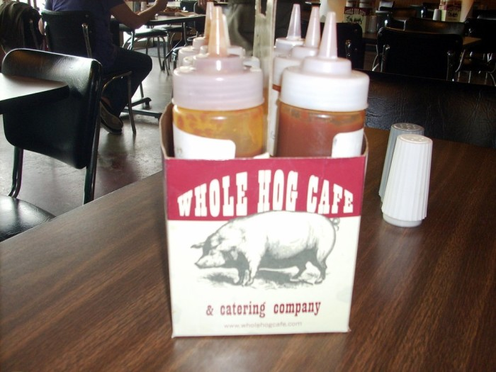 27. Whole Hog Cafe: This Little Rock-based chain offers barbecue along with side dishes including potato salad, beans, coleslaw, salad, and dinner rolls. Other specialties include barbecue nachos and loaded baked potatoes.