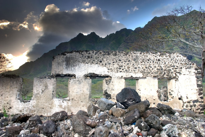 1) This abandoned sugar mill on Oahu has crumbled before the mountains.