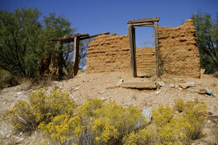 2. A former building in Ruby, an old ghost town, is slowly returning to the desert.
