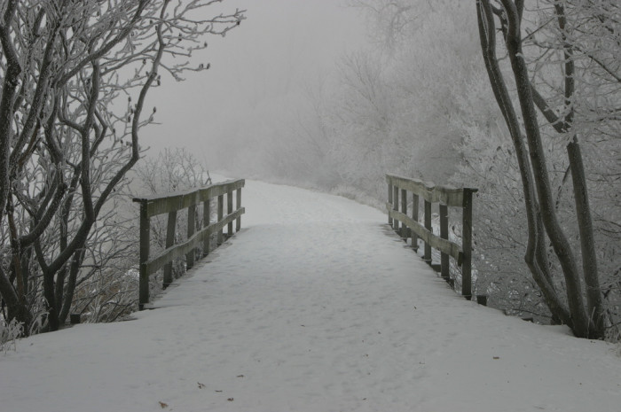 10. This snowy, untouched bridge between Orange City and Alton is both beckoning and mysterious.