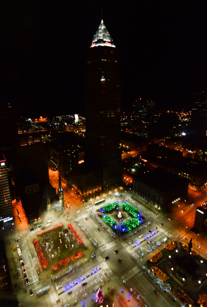 5) Cleveland Public Square at night during Winterfest