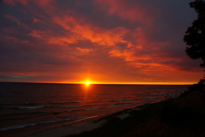 13) The sunset over Lake Michigan is reason for applause
