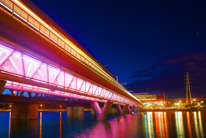 6. The photographer left the shutter open for four seconds to capture this blurred light trail from the light rail at Tempe Town Lake.