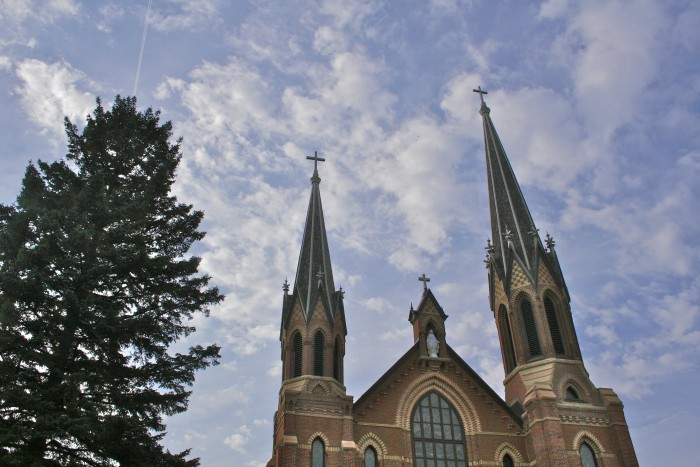 5. St. Mary's Catholic Church in Waverly is magnificent against the clouds.