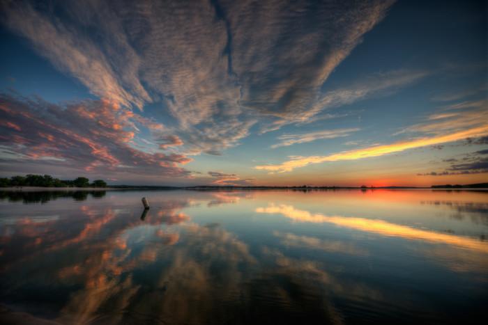 Two Sides of a Sunset at Merritt Reservoir