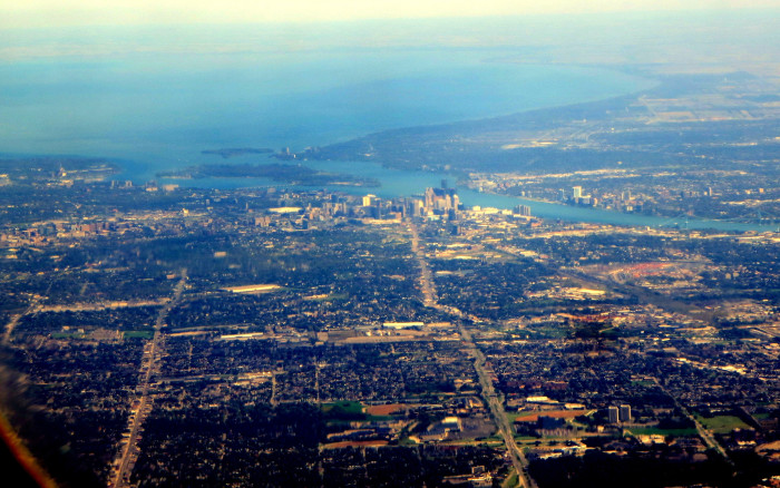 12) Detroit, with a glimpse of Belle Isle and Lake St. Clair