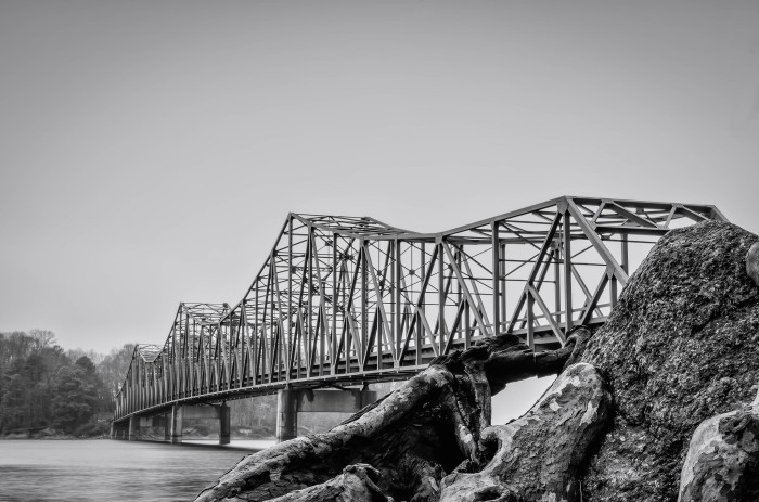 14) Browns Bridge over Lake Lanier in Forsyth County shown in an eerie gray shot.