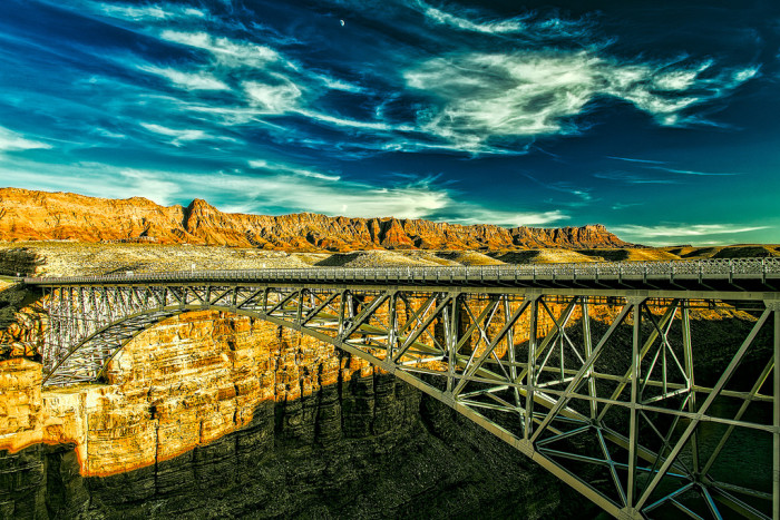 13. This bridge and its surroundings (Glen Canyon) almost look like a drawing.