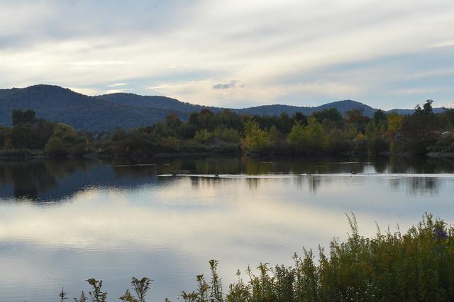 11. A mountain looms over a man-made lake in Pennsylvania.