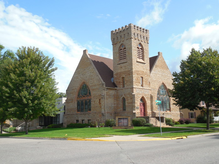 12. First Congregational United Church of Christ stands small but spectacular in Cannon Falls.