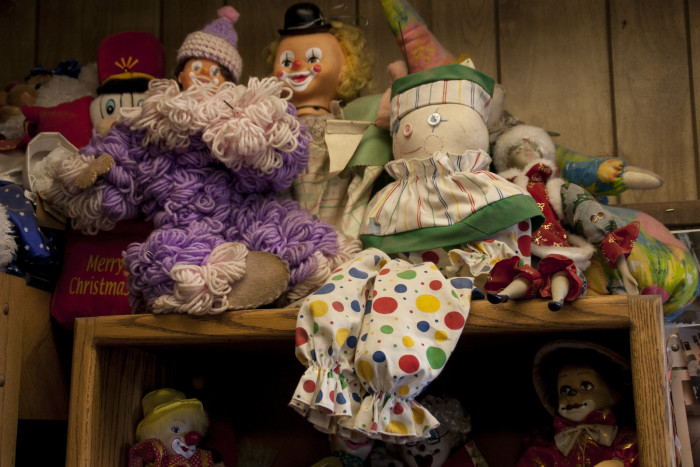 Ever since Mr. Perchetti took over the motel, clowns are constantly being added to the collection. Guests will sometimes donate a clown, and every now and then, clowns will show up in the mail from complete strangers. Stuffed clowns! Ceramic clowns! Big clowns! Small clowns! SUPER CREEPY CLOWNS!