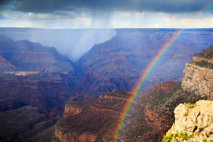 25. And the storm ends with a rainbow, like that seen here at the Grand Canyon.