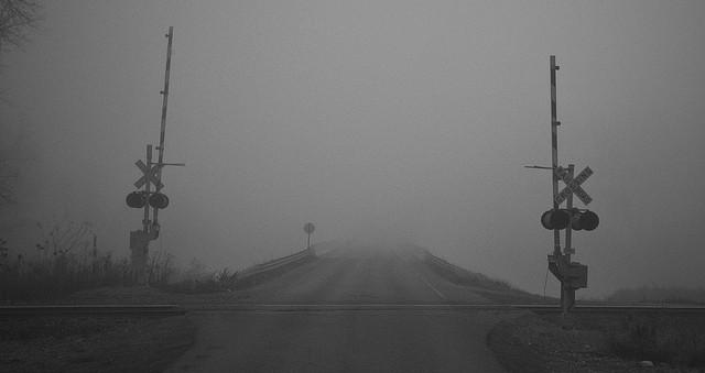 9. An austere railroad crossing.