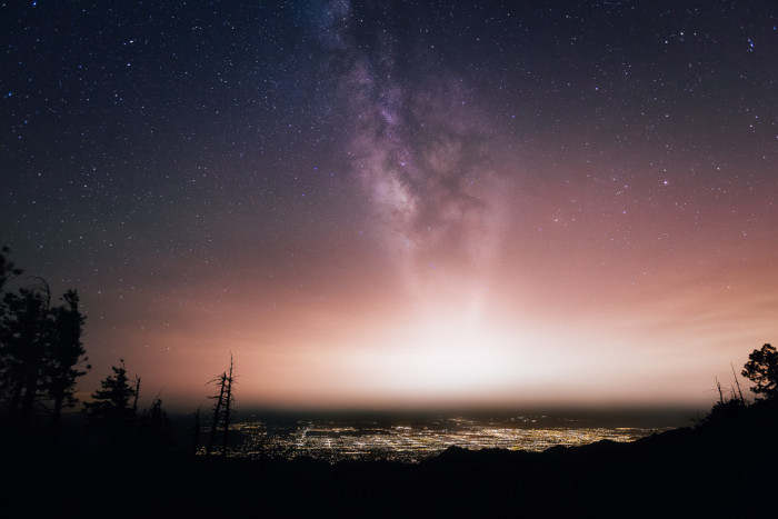 16. The Milky Way looks like a plume over Tucson.