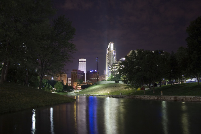 The Lovely Reflected Lights of Omaha's Downtown