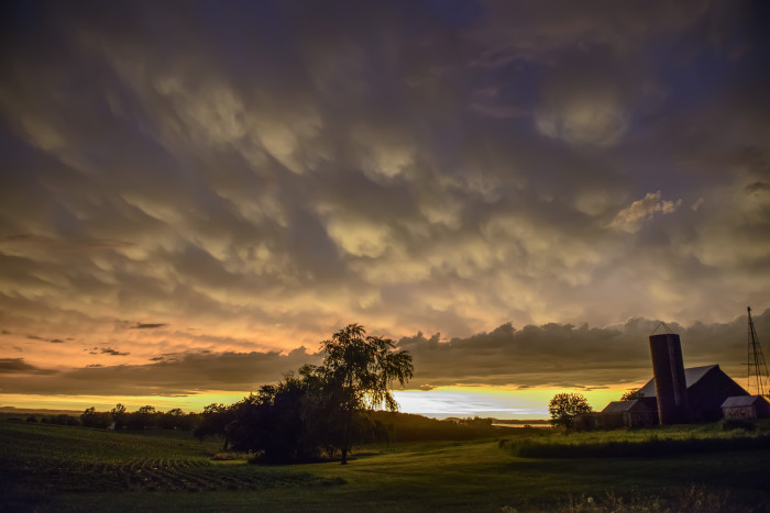 1. This beautiful, glowing sky illuminates a rural Iowan farm.