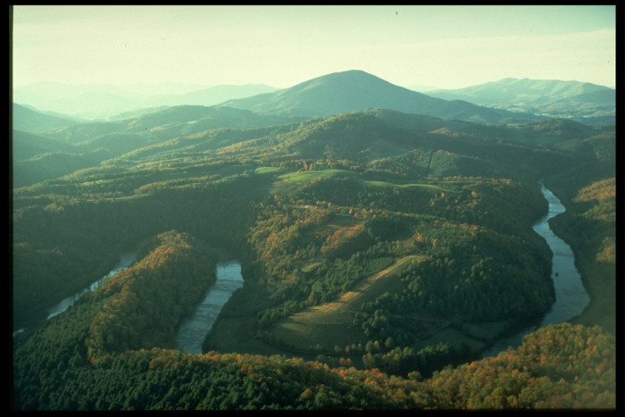 7. An aerial view of the Blue Ridge Mountains