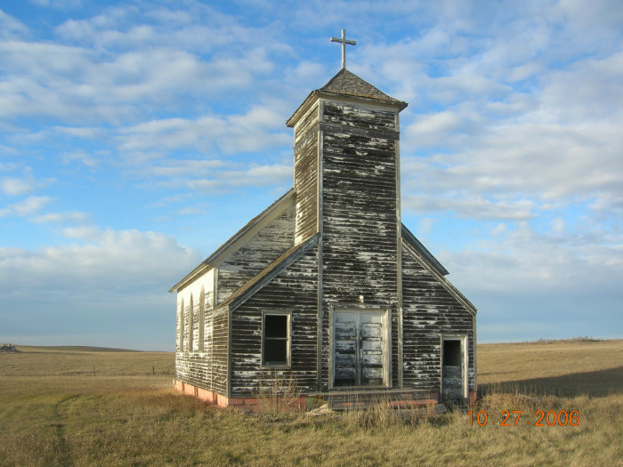 10. An abandoned Lutheran church located in the ghost town of Arena, North Dakota.