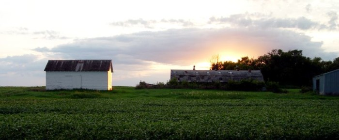 11. As the sun sets behind this beautiful farm, you can't help but feel relaxed.