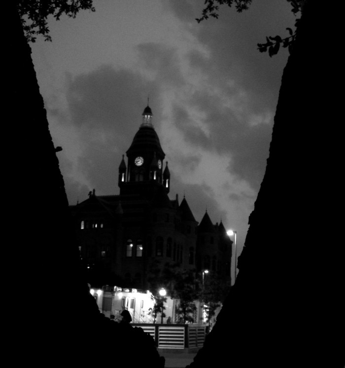 1) An eerie shot of the Dallas Courthouse photographed through the creaking branches of a tree.