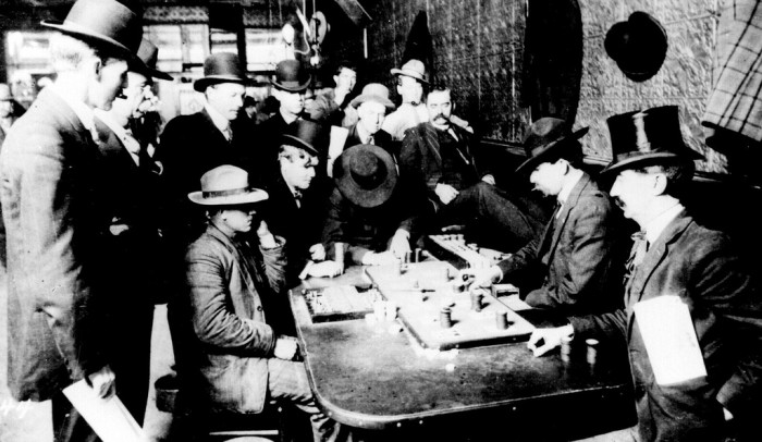 1. How about we get this started with a look at an old Bisbee saloon. These gentlemen look like they're having a grand time gambling. (c. 1900)